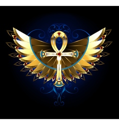 Gold Ankh with Wings vector image vector image