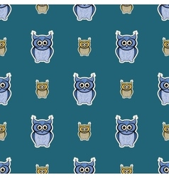 Green and blue sticker-like owls seamless pattern vector image vector image