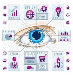 Infographics template human eye looking eye vector