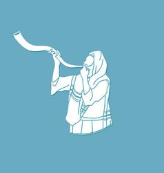Jew blowing the shofar kudu big horn vector