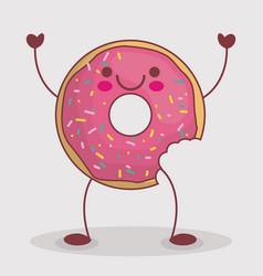 kawaii donut icon vector image