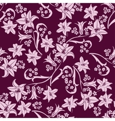 Leaf background Floral seamless texture with lily vector image vector image