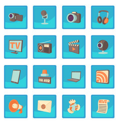 Media communications icon blue app vector