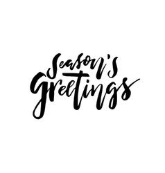 Merry christmas card calligraphy seasons greetings vector