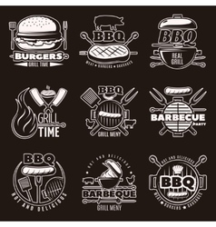 Monochrome Barbecue Emblems Set vector image vector image