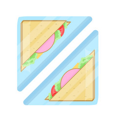 Packaged club sandwich isolated icon vector