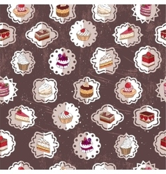 Seamless pattern wit different kinds of dessert vector