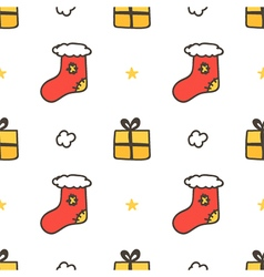 Seamless pattern with christmas socks gift boxes vector