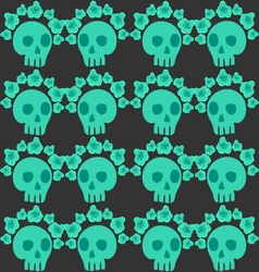 seamless pattern with skull and roses-2 vector image