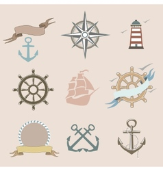 set marine icons vector image