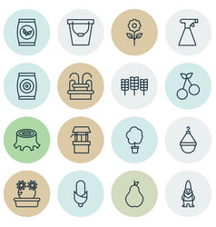 Set of 16 agriculture icons includes decorative vector