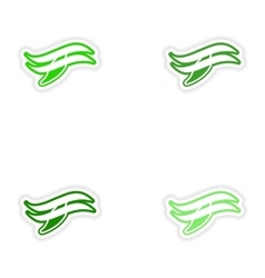 Set paper stickers on white background whale logo vector image vector image