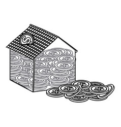 Silhouette housing save coins icon vector