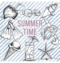summer retro hand drawn design set vector image vector image