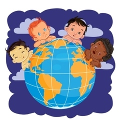 Young children of different nationalities located vector image vector image