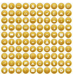 100 asian icons set gold vector