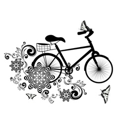 Bicycle and Floral Ornament4 vector image