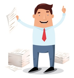Businessman with paper piles vector image