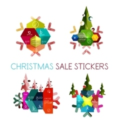 Modern paper christmas stickers vector