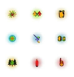 Competition paintball icons set pop-art style vector