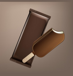 Choc-ice lollipop in chocolate glaze on stick vector