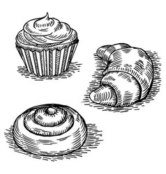 Bakery products engraving style vector