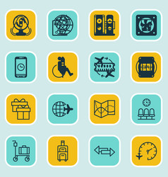 Set of 16 traveling icons includes luggage vector