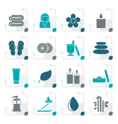 stylized spa objects icons vector image