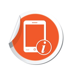 Phone information icon orange sticker vector