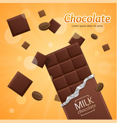 Chocolate package bar blank - milk pieces vector