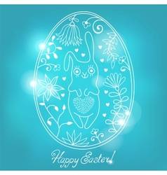 Easter egg with bunny vector