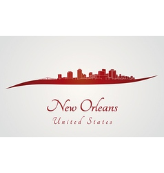 New orleans skyline in red vector