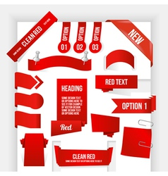 Bundle of Red Web Elements Corner and Ribbon vector image
