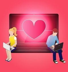 Loving couple using laptop and sitting on laptop vector