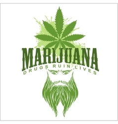 Marijuana and hippie - emblem vector