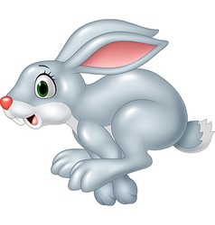Cartoon funny panic bunny running isolated vector
