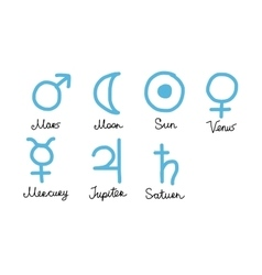 Astrology symbols of the planets sketch for your vector