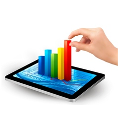 Tablet pc with colorful graph and hand vector