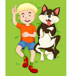 Boy and pet dog on grass vector