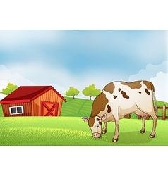 A cow in the farm vector image vector image