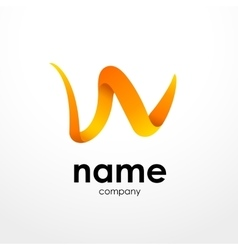 Abstract orange icon letter W shape for your vector image