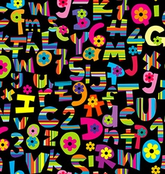 Alphabet set and numbers seamless background vector image