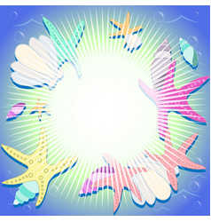 bright background with marine elements vector image vector image