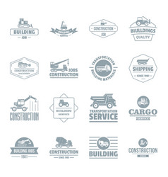 Building vehicles logo icons set simple style vector