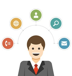 Business man design concept and flat icons set vector