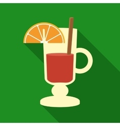 Christmas mulled wine with orange slice and vector