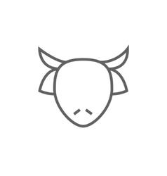 Cow head line icon vector