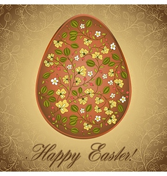 Easter egg with gooseberry gold brown greeting vector