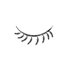Figure close vision eye with eyelashes style vector