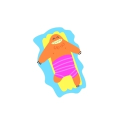 Floating On Matrass Monster The Beach vector image vector image